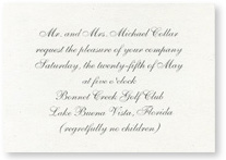 reception card on recycled paper