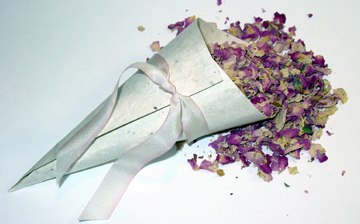 seed paper favor cone with rose petals
