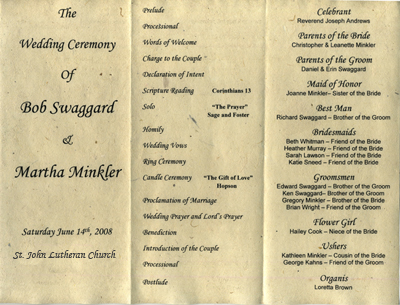 seeded programs for weddings and events
